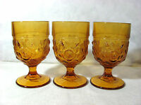 """Vintage Set of 3 Heavy Amber Glass 5"""" Goblets with Embossed Open Roses"""
