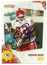 2010 Score DWAYNE BOWE Signed Card Lambeau Field CHIEFS LSU TIGERS