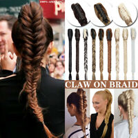 US One Piece Claw On Braid Clip In Hair Extensions Long Thick Ponytail for Human