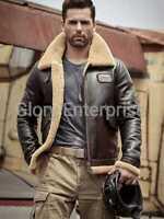 Mens Dark Brown B3 Shearling Real Leather Bomber Jacket Fur Coat Airforce Flight