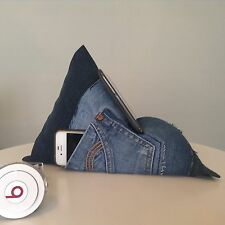 iPad, Tablet, Kindle, Phone, Book Holder Bean Bag  Cushion Stand. Upcycled denim