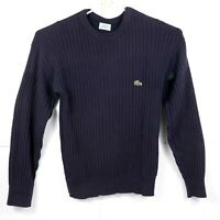IZOD LACOSTE - Vintage - Navy - Made in USA - 100% Cotton Knit Sweater - Mens XL