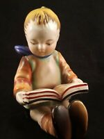 Adorable Vintage Japan Gold Castle Hummel-Inspired Boy Reading Book End Figurine