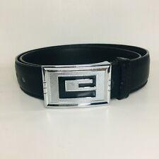 "Men's ""e"" Letter Icon Needlepoint Buckle, Black Genuine Leather"
