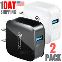 2 Pack QC 3.0 Quick USB Wall Charger Adapter Fast Charge For iPhone Samsung LG