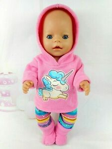 """Dolls clothes for 17"""" BABY BORN DOLL~ UNICORN CANDY PINK HOODIE~LEGGINGS~BOOTS"""