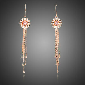 Long Flower Dangle Earrings Rose Gold Plated Multiple Chain Drop Long Earrings