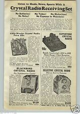 1940 PAPER AD 4 PG Crystal Radio Receiving Set Blackbird Pocket Midget Aupertone