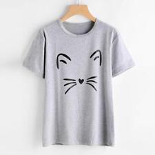 NEW Sale Womens Ladies Cat Print Summer Loose Tops Short Sleeve Blouse T Shirt