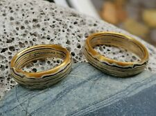 Trauringe Mokume Gane Gold 900 Palladium 500 Silber 925 Wellenmuster 1 Paar