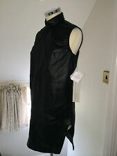RICK OWENS High Neck Sleeveless Leather Dress Tunic Top **VICIOUS 2014**