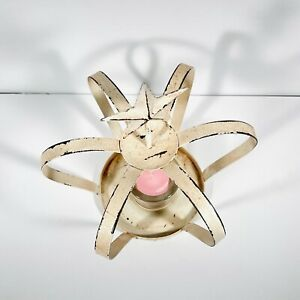Shabby Off White Pink Metal Crown Shape Star Top Glass Votive Candle Holder Pink
