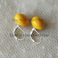 schöne 14mm flache runde orange Muschel Perle 925 Silber Brisur Ohrringe