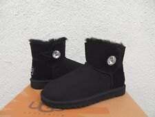 UGG BLACK MINI BAILEY BLING SUEDE/ SHEEPSKIN BOOTS, WOMEN US 10/ EUR 41 ~NEW