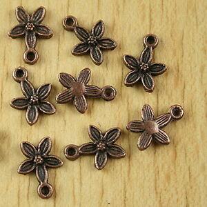 50pcs copper-tone plum flower charms h2152