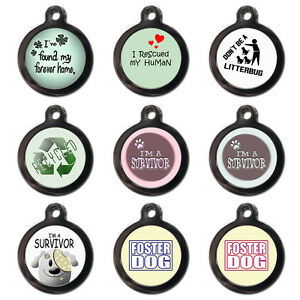 RESCUE PET ID TAGS - Foster Dog Disc - Cute Dog Cat Name ID Tag  -Engraved FREE