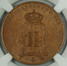 1889 Sweden 5 Ore, Large Letters, Ngc Ms-64 Bn, Swedish Coin
