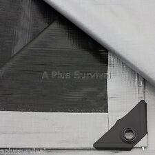 Silver & Black Tarp 18 'x 24' - Grommets Camping Emergency Survival Shelter Rain