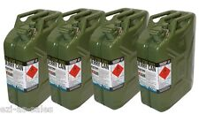 4 x 20L METAL JERRY CANS, ARMY GREEN, AUSTRALIAN STANDARDS AS2906 + UN APPROVED