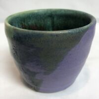 Studio Art Pottery Drip Glaze Stoneware Dish Pot Artist Sign Nubby texture Float