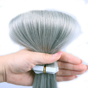 16-24Inch Sliver Gray Tape In Pu 100% Remy Human Hair Extension Ombre Skin Weft