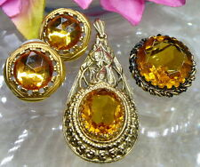 PRETTY VTG AMBER GLASS PENDANT W GERMANY PIN LUCITE POST EARRINGS JEWELRY LOT