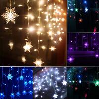 3.5M 96LED Snowflake Curtain Light Fairy String Xmas Christmas Wedding Party