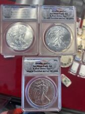 2017 P,S,W 3 Pc American Silver Eagle $ Set MS70 ANACS
