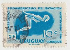 (UG-333) 1958 Uruguay 10c blue diving