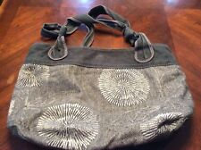 Extra Large Fossil Long Live Vintage Floral Gray Cloth And Canvas Handbag
