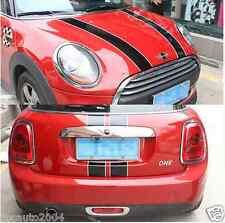 Car Dual Stripes for MINI Cooper Hood Rear Decal Stickers Black w/ White ZC699