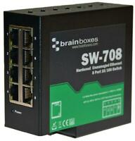 8 Port Industrial Unmanaged Ethernet Switch, DIN Mountable - BRAINBOXES