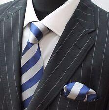 Corbata Corbata con Pañuelo Azul Y Plateado Banda Ancha