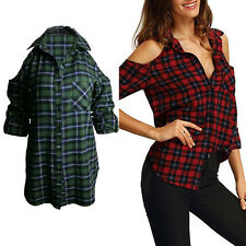 New Ladies Women Long Sleeve Plaid Check Tops Blouse Off Shoulder Casual T-Shirt