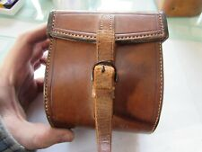 vintage large Farlow Leather D block salmon fly fishing reel case perfect etc