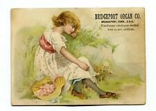 Victorian Trade Card BRIDGEPORT ORGAN CO girl in field CT