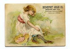 Victorian Trade Card BRIDGEPORT ORGAN CO girl in field CT