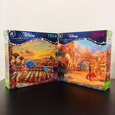 Lot of 2 Thomas Kinkade Disney Princess Puzzles 750 Piece x2- Jasmine & Rapunzel