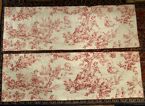 Pair Country Curtains Red Toile Christmas Valances 40x14 French Country USA Made
