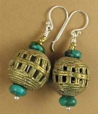African bead earrings with turquoise. Copper/brass. Sterling silver. Handmade.