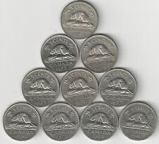 10 - 5 CENT COINS w/ BEAVERS from CANADA with CONSECUTIVE DATES of 1972 to 1981