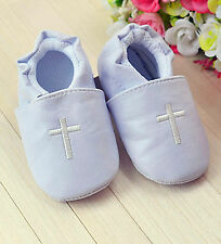 Baby Boy White Christening Cross Wedding Party PU Synthetic leather first Shoes