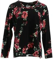 Denim & Co. Women's Printed Jersey V-Neck Long Sleeve Top (Black, L) A346283