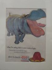 Original 1954 Vintage Advert ready to frame mounted Jell-O Hippo