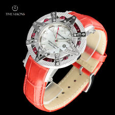 Xoskeleton 41mm Superlative Star LE Red Topaz Gemstone MOP Leather Strap Watch