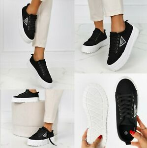 NEW WOMENS SHOES FLAT LACE UP PLIMSOLLS PUMPS CANVAS LADIES TRAINERS GIRLS SIZE