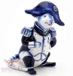 Gzhel porcelain figurine of Rat Mouse Mice Napoleon in uniform