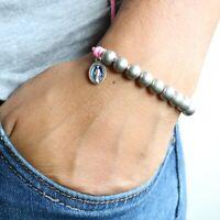 Rosary Miraculous Medal Bracelet Pink Handmade Paracord Beads Catholic Jewelry