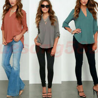 Summer Women Shirt Chiffon V-Neck Collar Loose Long Tops Blouse Sleeve Casual