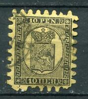 Finland/Russia 1866-74 Serpentine Roulette 10p black yellow Sc 8 FA 7 Used 2451